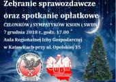 Zapraszamy na zebranie sprawozdawcze członków SWBN i spotkanie opłatkowe