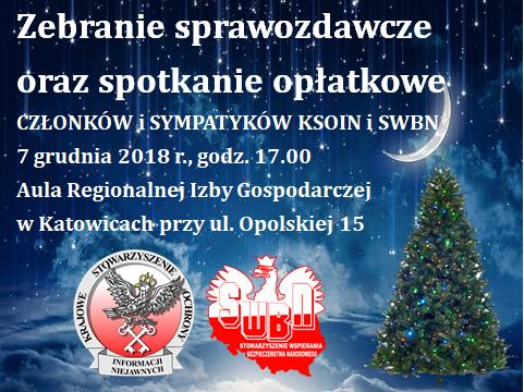 Znamy datę i miejsce zebrania sprawozdawczego członków SWBN i spotkania opłatkowego