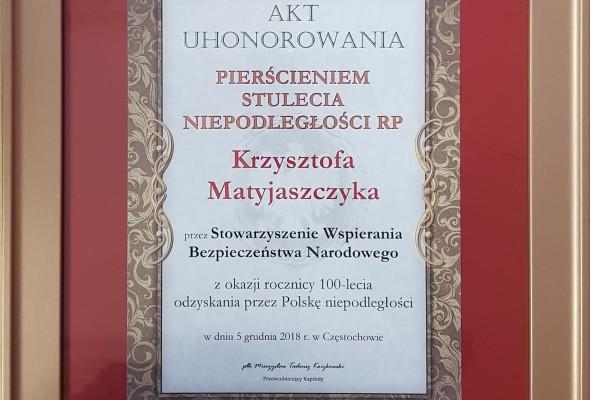 Uhonorowanie Prezydenta Częstochowy