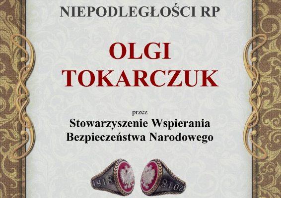 Nominacja do uhonorowania dla Olgi Tokarczuk